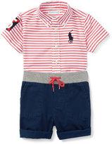 Ralph Lauren Striped Poplin Shirt w/ Twill Shorts, Red/White, Size 9-24 Months