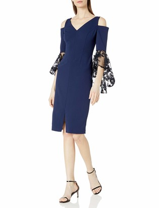 Maggy London Women's Crepe Cocktail Sheath with Cold Shoulder L