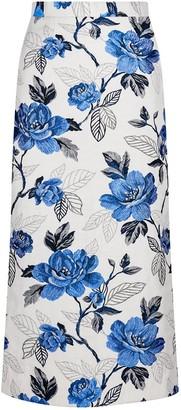 Sika'a Floral-Jacquard Pencil Skirt
