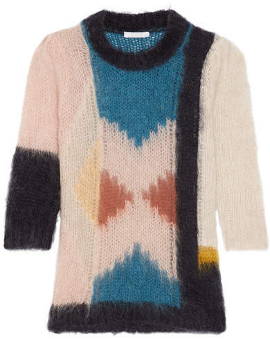Chloé Intarsia Mohair-blend Sweater - Off-white