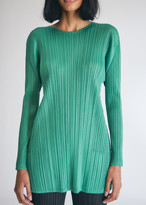 Pleats Please Issey Miyake Women's A-Line Long Sleeve Tunic Top in Green, Size 3