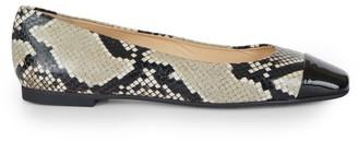 Jimmy Choo Gloris Square-Toe Snakeskin-Embossed Leather Ballet Flats