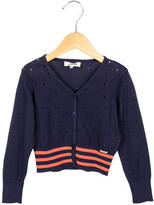 Junior Gaultier Girls' Open Knit Striped Cardigan w/ Tags