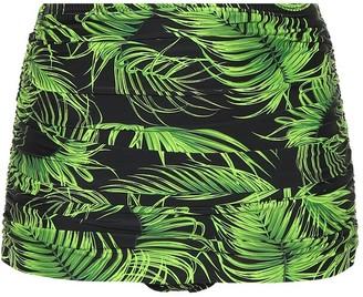 Norma Kamali Bill leaf-printed bikini bottoms
