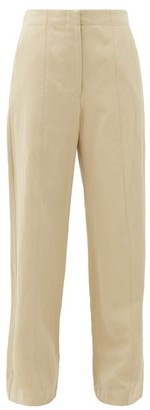 Raey Front-seam Cotton And Linen-blend Chino Trousers - Tan
