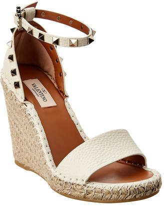 Valentino Rockstud 95 Grainy Leather Wedge Sandal