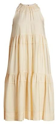 Rosetta Getty Tiered Halter Midi Dress