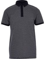 River Island Boys navy jacquard polo shirt