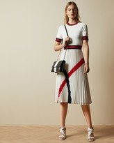 Ted Baker Knitted Dress With Pleated Skirt