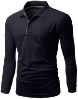 Xpril Mens Basic Collar Polo Long Sleeve Antimicrobial Fabric Tee size XL