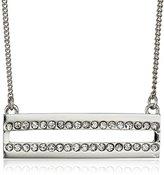 "Jessica Simpson Rhodium/Crystal Pave Bar Pendant Necklace, 18"""