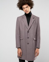 Asos Wool Mix Overcoat In Heather Marl