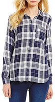 Westbound Petites Point Collar Single Pocket Hi-Lo Button Front Plaid Shirt