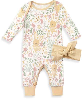 Tesa Babe Girls' Rompers Straw/Flowers - Straw Yellow Bunny Floral Playsuit & Headband - Newborn & Infant