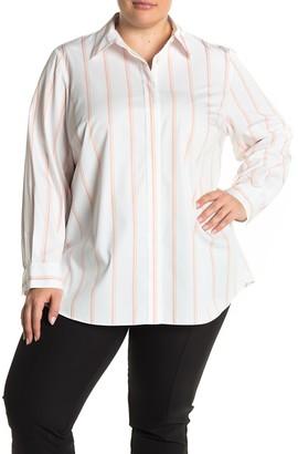 Lafayette 148 New York Velma Stripe Print Blouse (Plus Size)