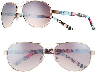 So Women's SO Tropical Floral Aviator Sunglasses