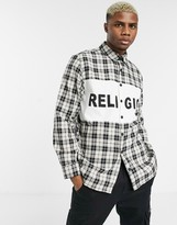 Religion check shirt with logo panel in white/black