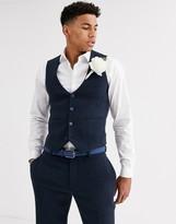 Asos DESIGN wedding super skinny suit suit vest in blue wool blend mini check