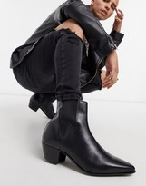 Asos Design DESIGN cuban heel western chelsea boots in black leather with lightning detail
