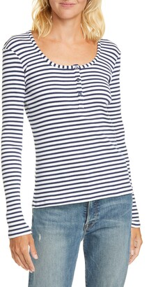 La Ligne Stripe Ribbed Henley Shirt