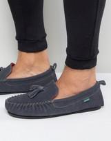 Dunlop Suede Tassel Slippers In Grey Suede