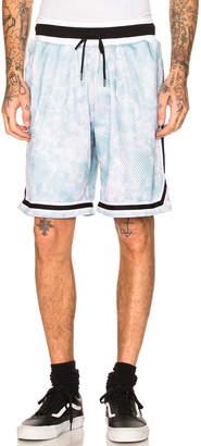 John Elliott Tie Dye Basketball Shorts in Blue & Purple   FWRD