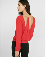 Express open back chain drape blouse