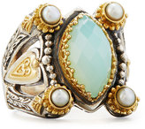 Konstantino Amphitrite Marquise Agate & Pearl Statement Ring, Size 7
