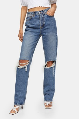 Topshop Womens Mid Stone Dad Ripped Jeans - Mid Stone