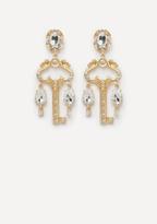 Bebe Crystal Key Drop Earrings