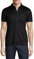 HUGO BOSS Short-Sleeve Jersey Button-Front Shirt, Black