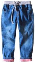 MFrannie Little Girls Elastic Strap Washed Vintage Cool Spring Jeans
