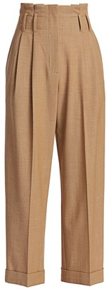 Brunello Cucinelli Tropical Wool Paperbag Pants