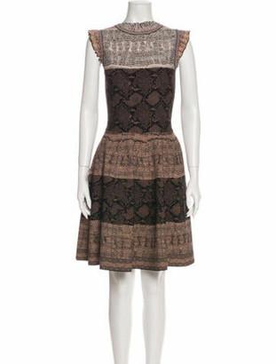 Alexander McQueen Animal Print Knee-Length Dress Brown