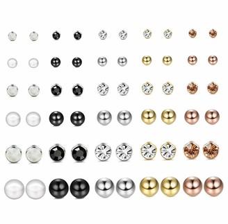 YADOCA 30 Pairs Assorted Multiple Stud Earrings For Women Teen Girls Pearl Crystal Ball Piercing Statement Bar Studs Earring Set
