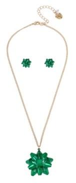 "Betsey Johnson Festive Bow Pendant Necklace Stud Earrings Set, 16"" + 3"" extender"