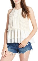 Moon River Women's Crochet Peplum Tank
