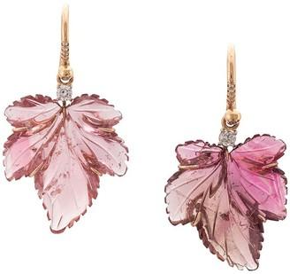 Irene Neuwirth 18kt rose gold One-Of-A-Kind tourmaline leaf earrings