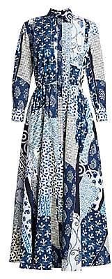 Oscar de la Renta Women's Collared Poplin Patchwork Midi Dress