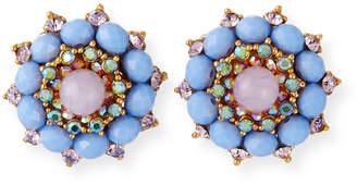 Jose & Maria Barrera Crystal & Glass Clip-On Button Earrings