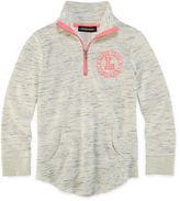 Asstd National Brand Inspired Hearts French Terry Mockneck Jacket - Girls