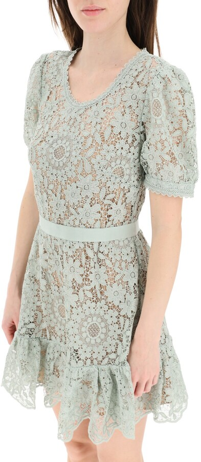 Thumbnail for your product : Self-Portrait GUIPURE LACE MINI DRESS 8 Green