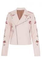 Quiz Pink PU Embroidered Biker Jacket