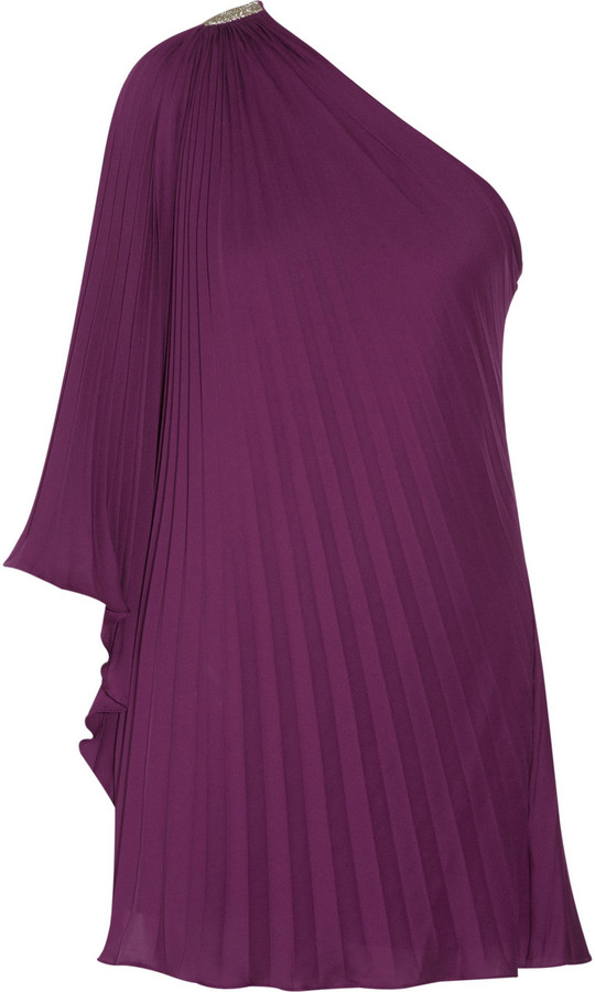 Halston One-shoulder pleated crepe mini dress