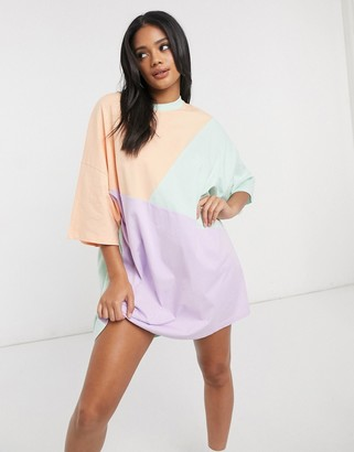 ASOS DESIGN oversized t-shirt dress with cut about pastel colourblock