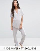 Asos Short Sleeve Embroidered Pocket Pajama Set