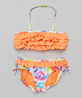 KensieGirl Orange & Purple Floral Ruffle Halter Bikini - Girls
