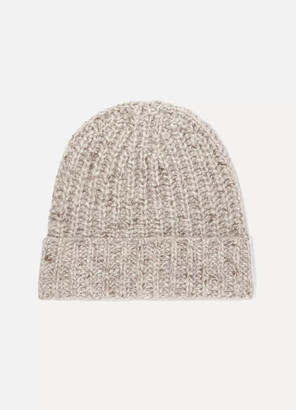 Johnstons of Elgin Ribbed Donegal Cashmere Beanie - Neutrals