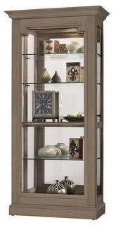 Howard Miller Caden III Contemporary Modern,Transitional, Matte Brown Solid Wood and Glass, Tall Living Room Curio Cabinet