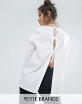 Noisy May Petite Shirt With Open Bow Back Detail